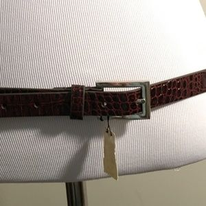 WHBM Brown Leather Belt with Silver Accents